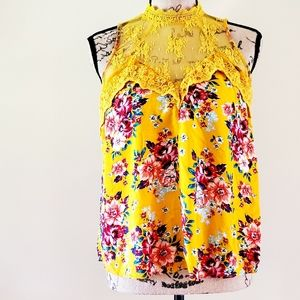 Yellow floral lace halter